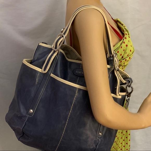 Tod's Handbags - pre-loved auth TOD'S blue & cream SATCHEL BUCKET